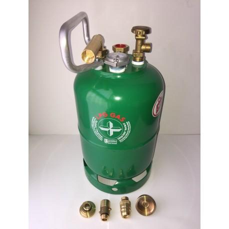 Bombona recargable GLP 5 kg izquierda carga directa+ 4 adaptadores