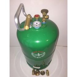 Bombona recargable GLP 11 kg izquierda carga directa+ 4 adaptadores