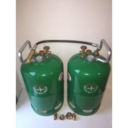 Doble bombona recargable GLP 11 kg con Kit carga directa izquierda