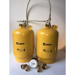 Doble bombona recargable GLP 6 kg con toma Gaslow carga exterior